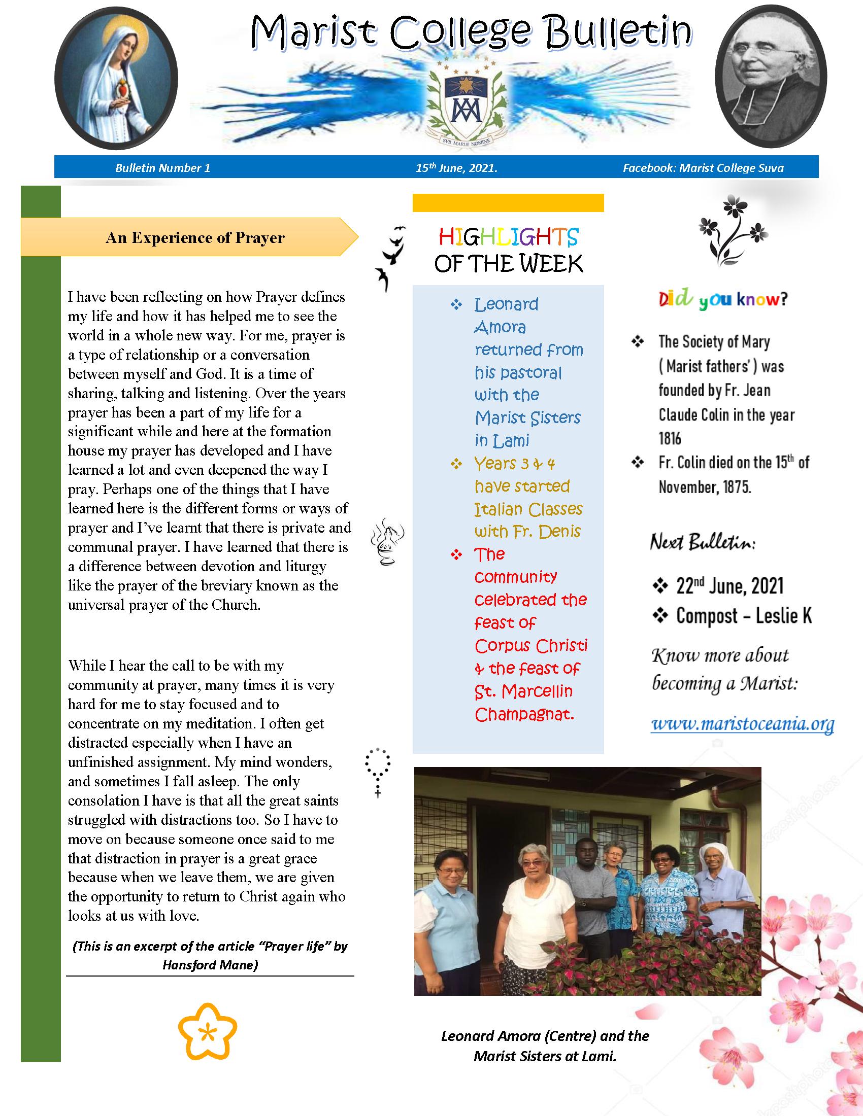 Bulletin 1 12 June 2021